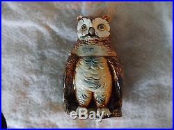 1880's Continental Majolica Owl Cigar Jar/Tobacco Jar Tobacciana