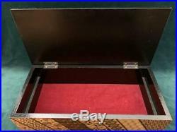 80's vintage Japanese Yosegi Handmade Wooden Humidor Cigar Box 30x14x8cm Used