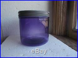 AMETHYST PURPLE GLASS 1890s CIGAR JAR 2ND DISTRICT VA WITH ORIGINAL METAL LID