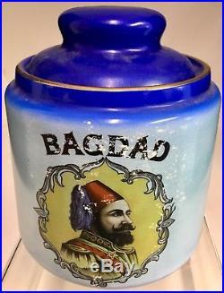 ANTIQUE BLUE BAGDAD PORCELAIN LOOSE TOBACCO HUMIDOR with LID VINTAGE STONEWARE JAR