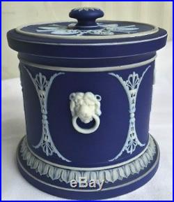 ANTIQUE DEEP COBALT BLUE & WHITE WEDGWOOD HUMIDOR JAR With LID CLASSICAL FIGURES