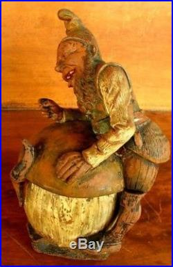 ANTIQUE TOBACCO JAR HUMIDOR GNOME BERNHARD BLOCH or JOHANN MARESCH c. 1890