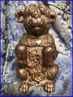 ANTIQUE TOBACCO Shaggy Begging Dog Jar Pot Victorian 19th Ceramic Figure Statue