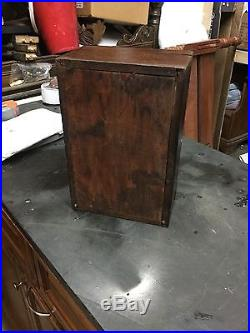 ANTIQUE Walnut LINED WOOD CIGAR HUMIDOR BOX