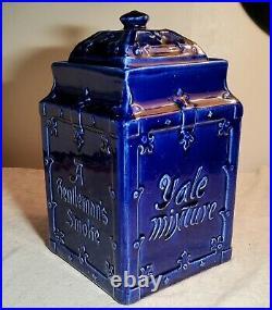 ANTIQUE YALE MIXTURE A GENTLEMANS SMOKE BLUE PORCELAIN HUMIDOR JAR wMATCHING LID