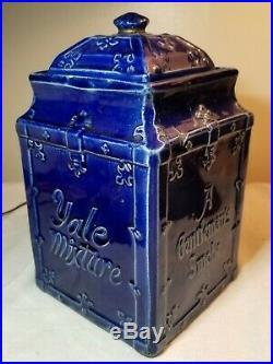 ANTIQUE YALE MIXTURE BLUE PORCELAIN HUMIDOR JAR wMATCHING LID A GENTLEMANS SMOKE