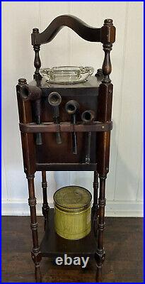 ATQ VTG Art Deco Ideal Smoking Pipe Stand Table Humidor Estate Pipes Tobacco Tin