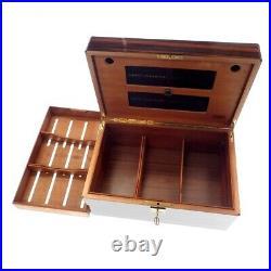 AUTH N. Mint DAVIDOFF Mahogany humidor Cigar Cigarette Storage Box + Key JAPAN