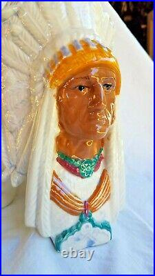 AWESOME! VINTAGE 3 CHIEF HEADS withTOTEM LID HEAD CERAMIC TOBACCO JAR 12