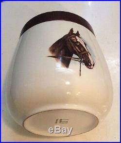 Alfred Dunhill Vintage Ceramic 5 1/4 x 4 Tobacco Humidor Jar Equestrian Horse