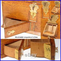 Antik Edwardianisch Ära Eiche & Gothic Stil Messing Raucher Verpackung, Humidor