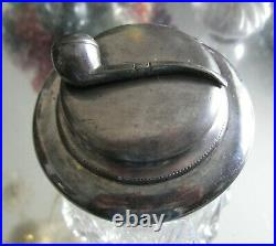 Antique 1800's Silver Plate Heavy Cut Glass Pipe Tobacco Jar Humidor