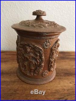Antique! 1800s Derbyshire Salt Glaze Stoneware Tobacco Jar! Very unique