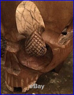 Antique 1880s Japanese Meji Memento Mori Skull & Snake Humidor Tobacco Jar