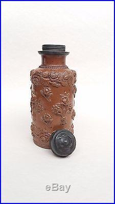 Antique 18th Century German RHEINISH Salt Glazed TOBACCO JAR with Pewter Lid