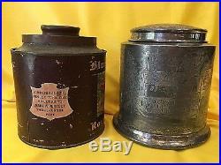 Antique 1910 BLUE BOAR Inn TOBACCO Cigar Humidor Tin & Silverplate Holder Rare