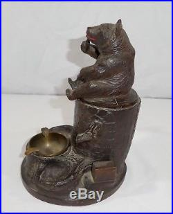 Antique 2-Piece Black Forest + Bear HUMIDOR, PIPE STAND, ASH TRAY. 10H 1900