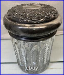 Antique 8 Victor Silver Quadruple Crystal Glass Tobacco Cigar Humidifier Rare
