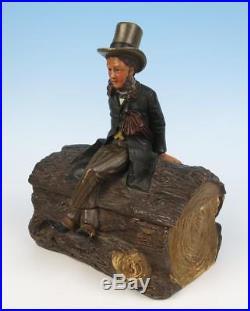 Antique ABRAHAM LINCOLN Tobacco Jar by Johann Maresch Austrian Pottery Humidor