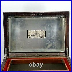 Antique Alfred Dunhill Cigar Humidor Edwardian Era Carved Wood Case Pre 1924