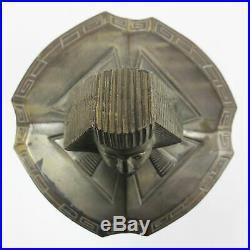 Antique Art Deco Tobacco & Cigar Jar Humidor, Bronze Egyptian Pharaon Lid, Glass
