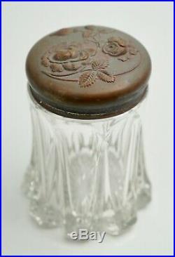 Antique Art Nouveau Glass Tobacco Cigar Humidor Jar Metal Flowers 5 H