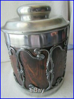 Antique Art Nouveau Wood Tobacco Humidor Cigar Box Jar St Louis Silverplate 1905