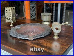 Antique Arts & Crafts Mahogany Cigar Pipe Smoking Stand with Humidor by HT Cushman