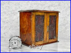 Antique Arts & Crafts Oak Carved Tobacco Humidor Cabinet with Pipe Holder
