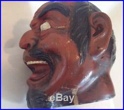 Antique Austrian Terra Cotta Figural Tobacco Jar Humidor Japanese Samurai Devil
