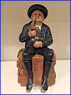 Antique Bernard Bloch Circa 1900 Tobacco Jar #145 Of Man Smoking Pipe