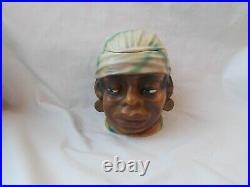 Antique Black African American Woman Bust Tobacco Jar Humidor Vtg