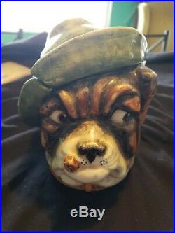 Antique Bulldog Tobacco jar Humidor nice rare