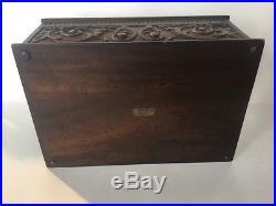 Antique Carved Mahogany Porcelain Lined Cigar Pipe Humidor Box Kopriwa Chicago