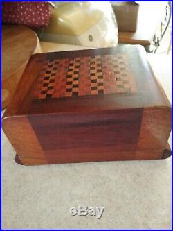 Antique Cigar Humidor 4 Tray mixed wood matrial. Needs work