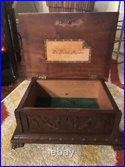 Antique Cuban Hand-Carved Mahogany Humidor Lock Works Inlaid Name Plate C 1910