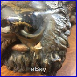 Antique Curly Hair Dog Head Bronze Colored Red Earthenware Humidor Tobacco Jar