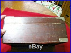 Antique Dark Wood Cigar Humidor-Oak and Milk Glass-no key