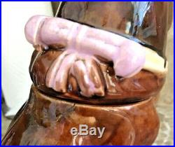 Antique English Bulldog Majolica Humidor Tabaco Jar