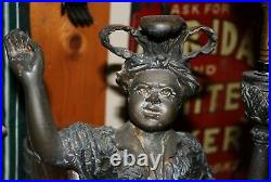 Antique Figural Cigar Store Cast Page Boy Cigar Lamp / Lighter Amazing and Rare