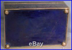 Antique French Cloisonné Bronze FAP Humidor Tobacco Cigar Box BLUE Big