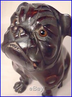Antique GERMAN CARVED WOOD DOG HEAD HUMIDOR CIGAR TOBACCO JAR Box
