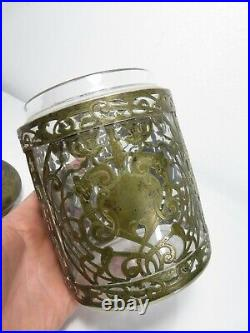Antique GERMAN SILVER & GLASS HUMIDOR Cigar Tobacco Jar VICTORIAN Art Nouveau