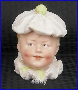 Antique Gebruder Heubach Bisque Tobacco Humidor Figural Piano Baby Clown Jar