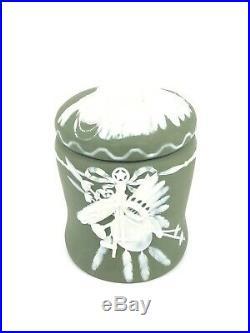 Antique Gebruder Heubach Jasperware Tribal Chief Humidor Tobacco Jar Late19th