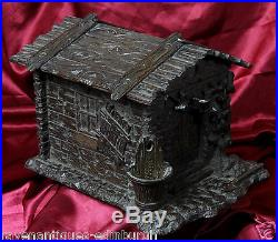 Antique German Black Forest Wooden Cigar Humidor Box with lock Forest Cabin