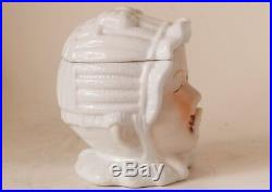 Antique German Figural Porcelain Tobacco Humidor Jar Baby withPacifier c. 1900s