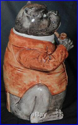 Antique German French majolica Figural Humidor FAT DOG Anthropomorphic Pug Bull