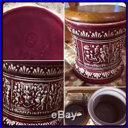 Antique German Majolica Humidor Tobacco Jar Wood & Iron Top Stamped Germany