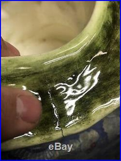Antique German Pottery Head Man Tobacco Humidor Jar Planter Majolica Jardiniere